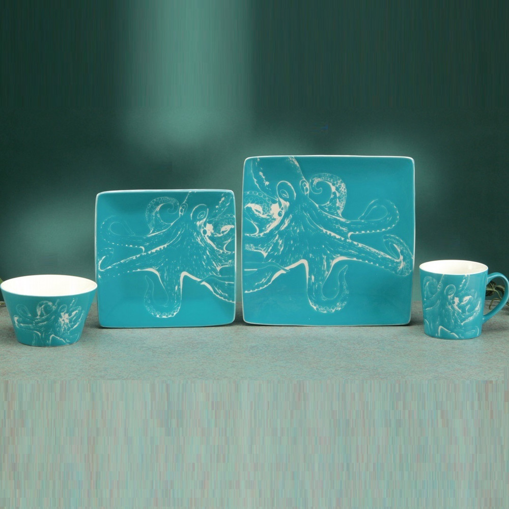 Octopus Dinnerware 4 Piece Place Setting | Unison Gifts | TCDOCTOPUS