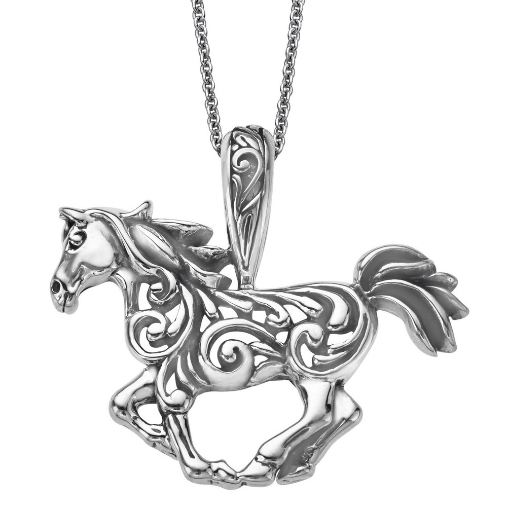 Horse Scroll Pendant Sterling Silver Necklace | Kabana Jewelry | KSP506