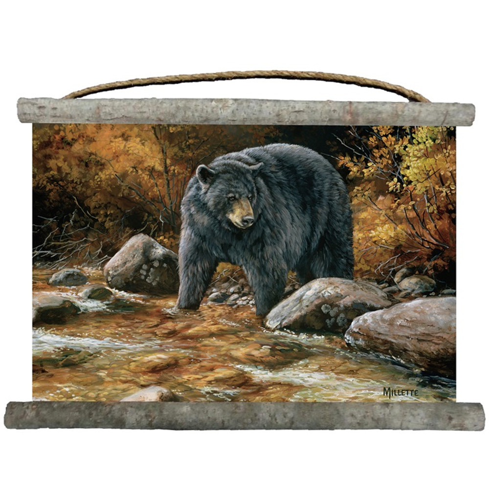 "Black Bear Canvas Wall Hanging ""Streamside"" 