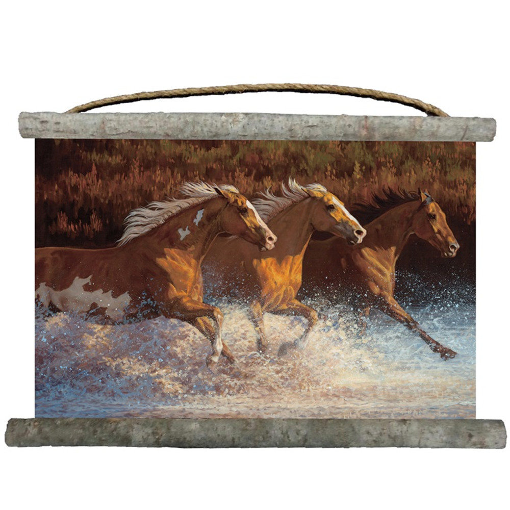 """Horse Canvas Wall Hanging """"Thundering Water"""" 