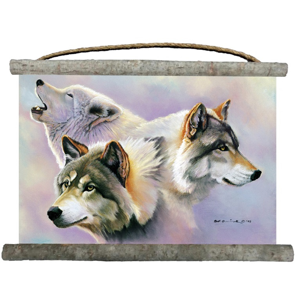 """Wolf Canvas Wall Hanging """"Wolves are Forever"""" 