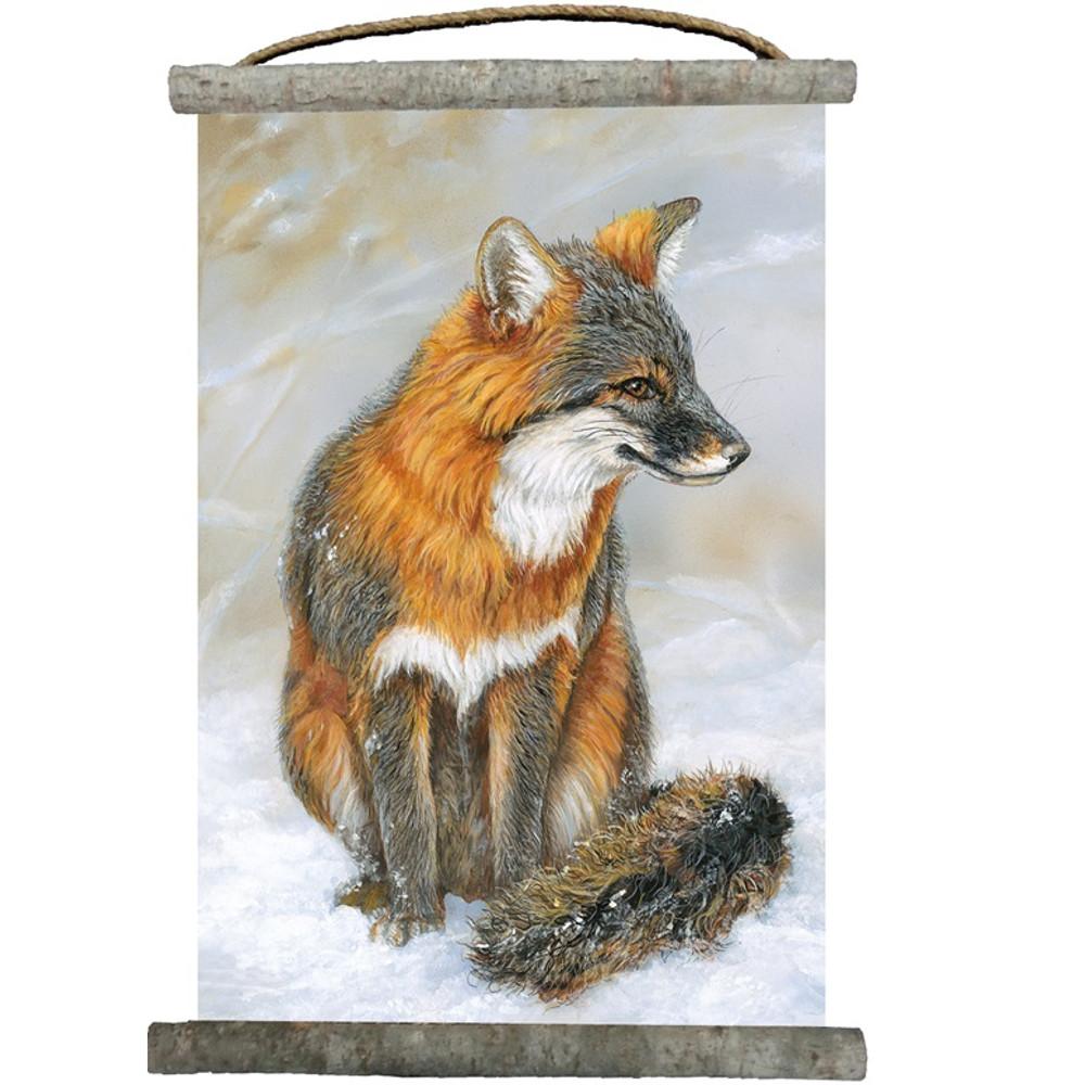 Gray Fox Canvas Wall Hanging   Wood Graphixs   WCGF1825
