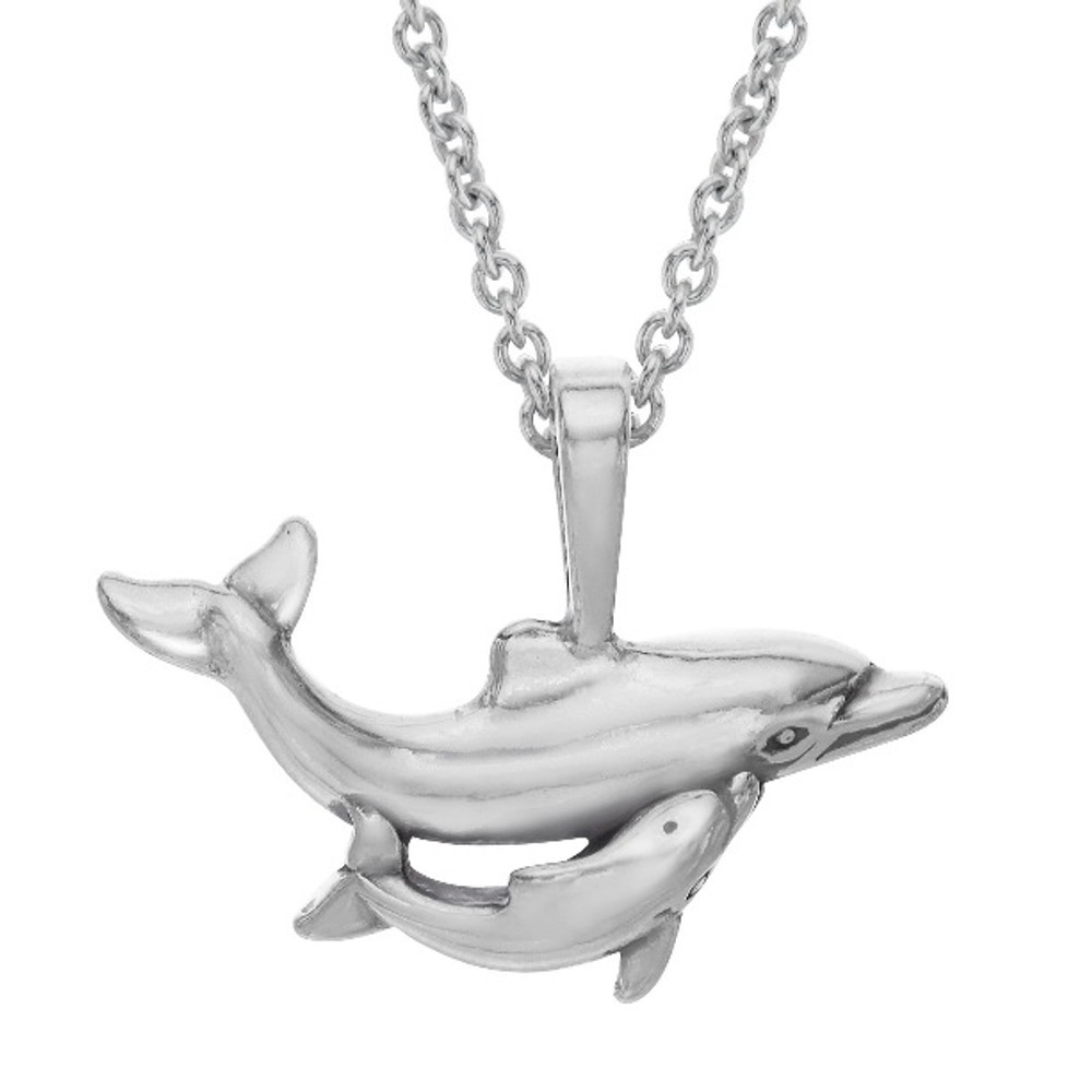 Dolphin and Baby Sterling Silver Pendant Necklace | Kabana | P673
