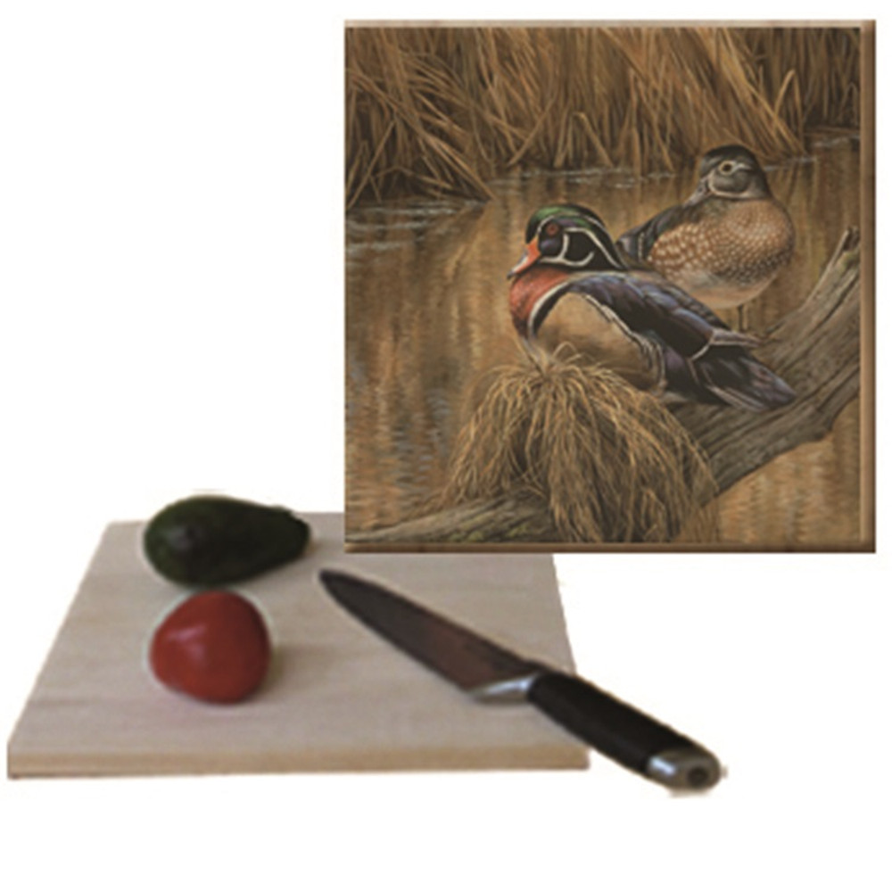"Duck Cutting Board ""Back Water Wood Ducks"" 