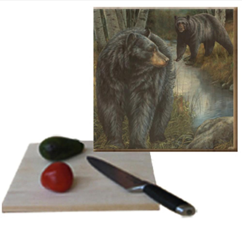 "Bear Cutting Board ""Birchwood Bears"" | Wood Graphixs | CBBB1212"
