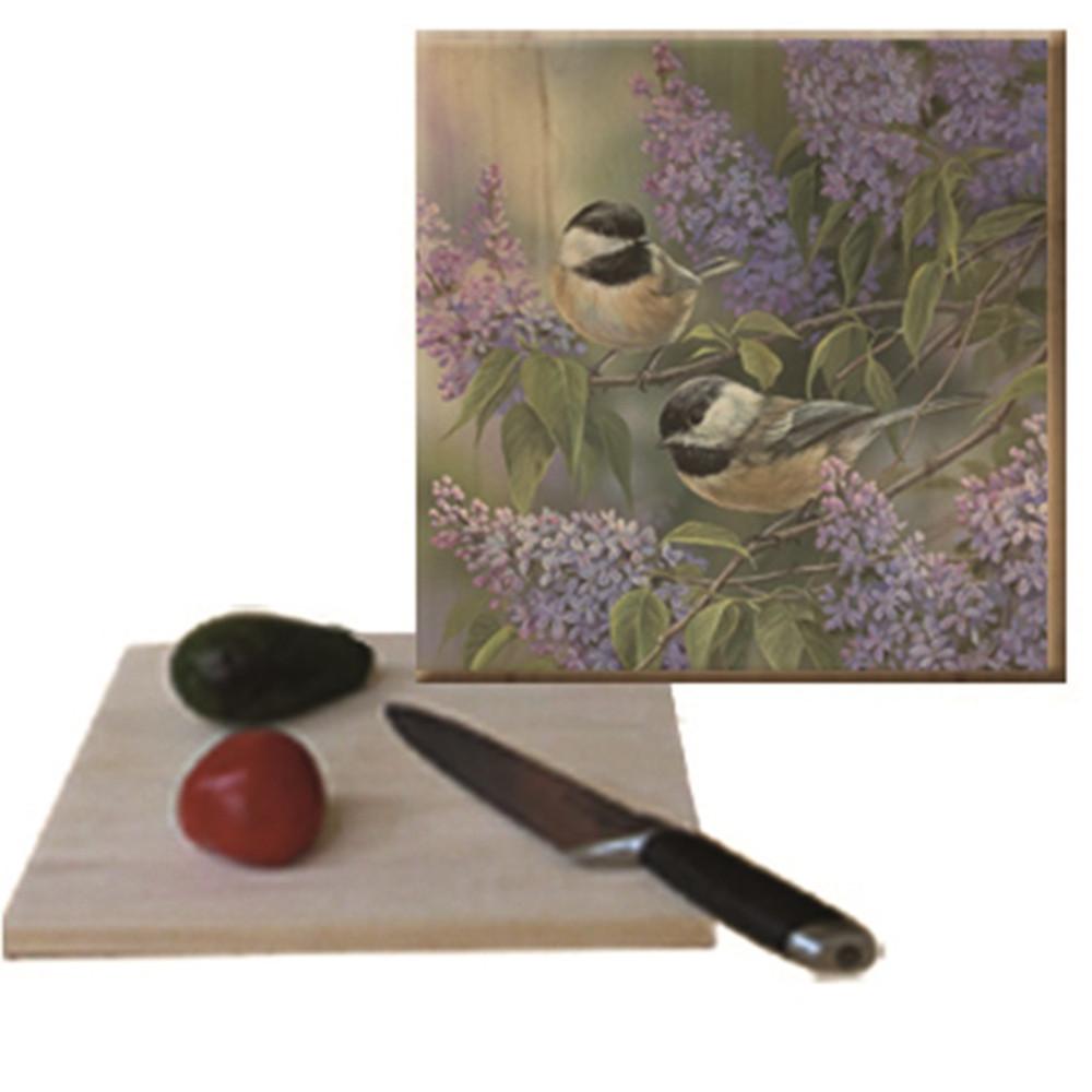 "Chikadee Cutting Board ""Chikadees and Lilac"" | Wood Graphixs | CBCL1212"