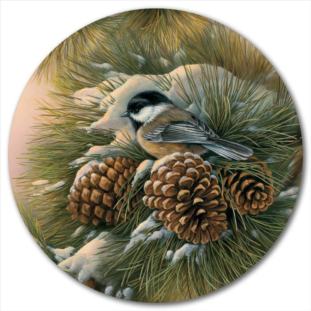"Chickadee Lazy Susan ""December Dawn"" | Wood Graphixs | LSDDC"