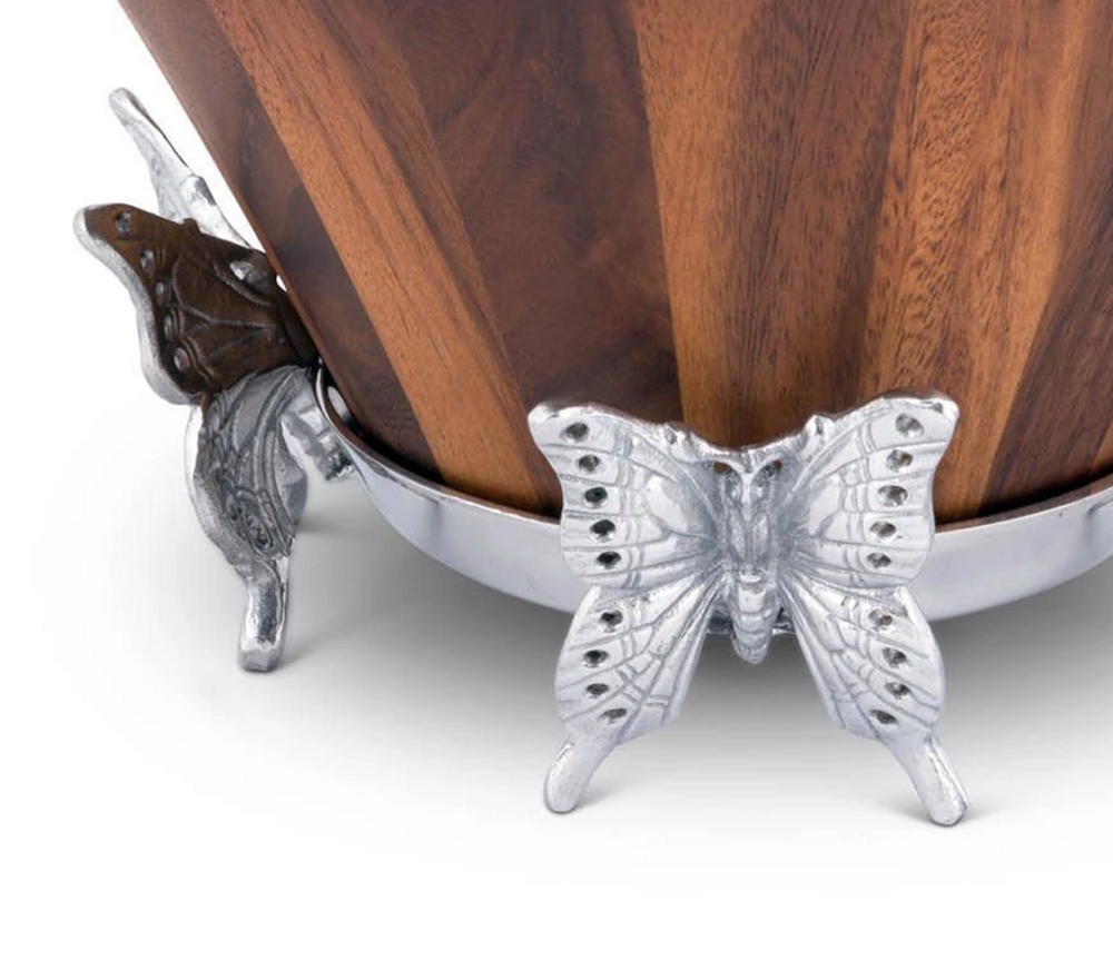 Butterfly Wood Salad Bowl | Arthur Court Designs | 218B11