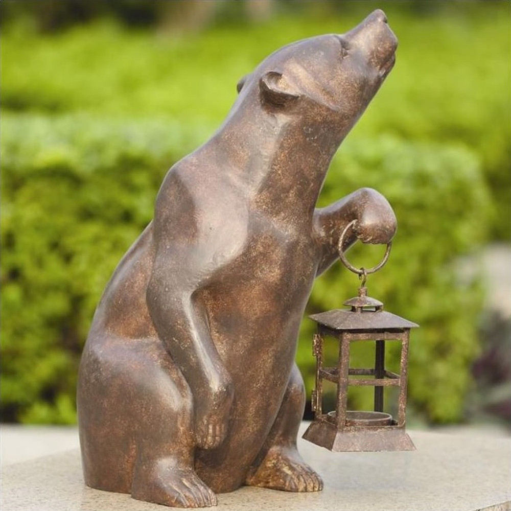 Bear with Lantern Sculpture Candle Holder | 32435 | SPI Home