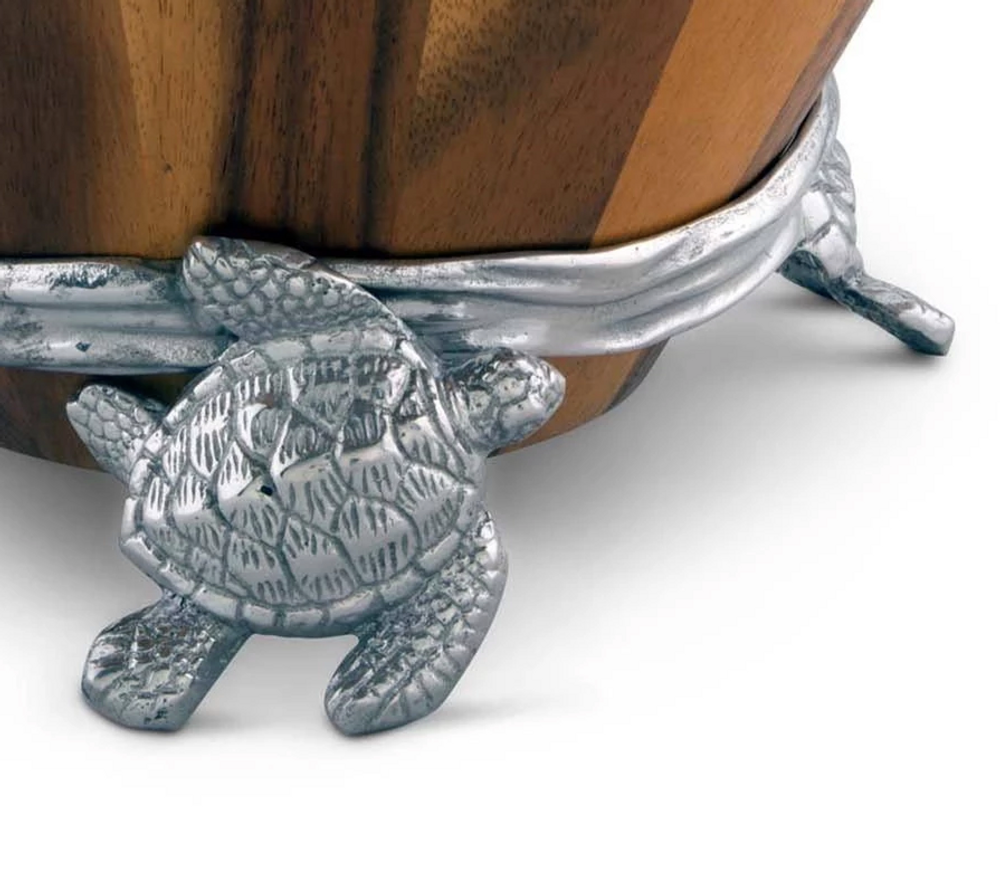 Sea Turtle Wood Salad Bowl | Arthur Court Designs | 218C12