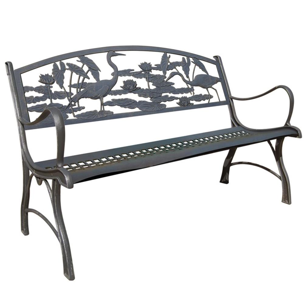 Heron Cast Iron Garden Bench   Painted Sky   PB-HER-100BR