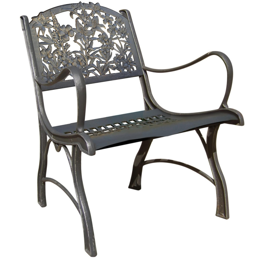 Hummingbird and Wildflower Cast Iron Chair | Painted Sky | PC-WFL