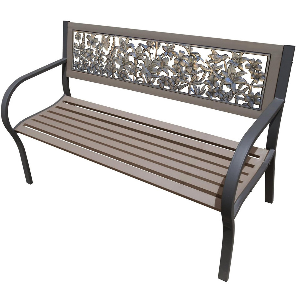 Wildflower 2-Tone Tube Steel Outdoor Bench   Painted Sky   TSB2-WFL