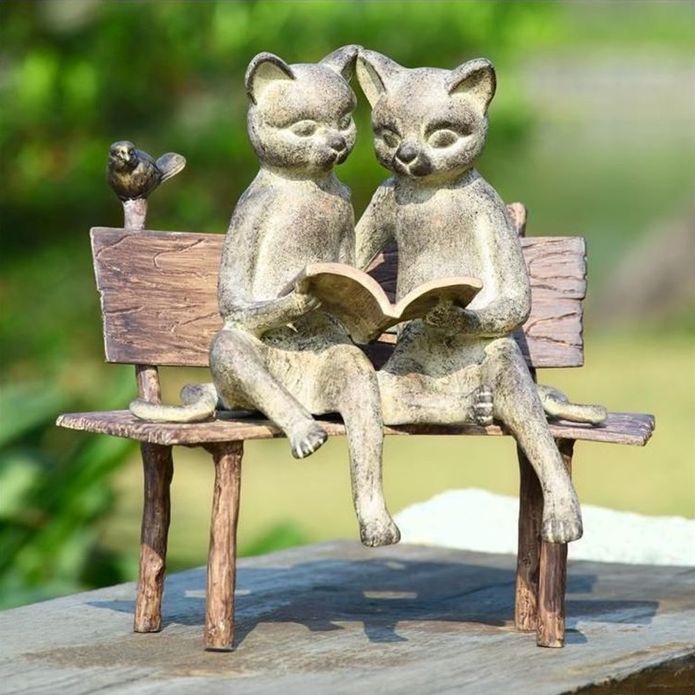 Cat Sculpture Reading on Bench | 33675 | SPI Home
