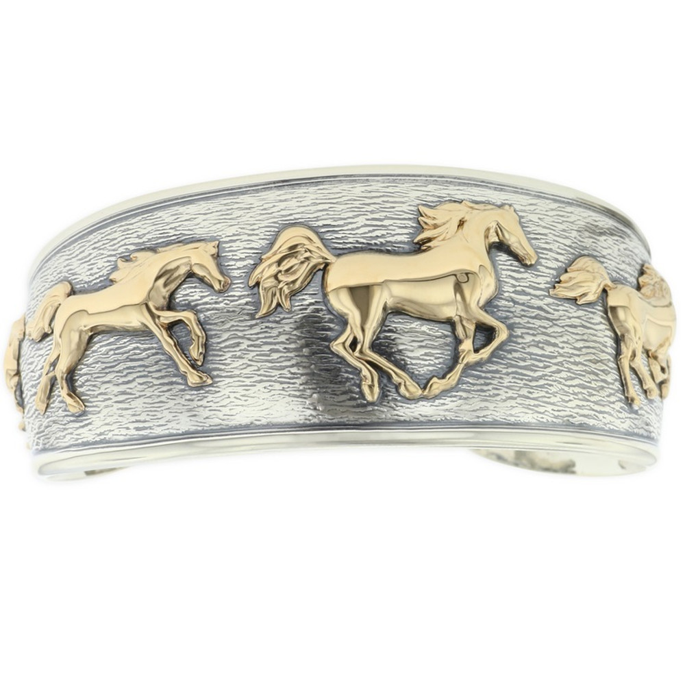 Running Horses 14K Yellow Gold Sterling Silver Bracelet | Kabana Jewelry | KGSBR164