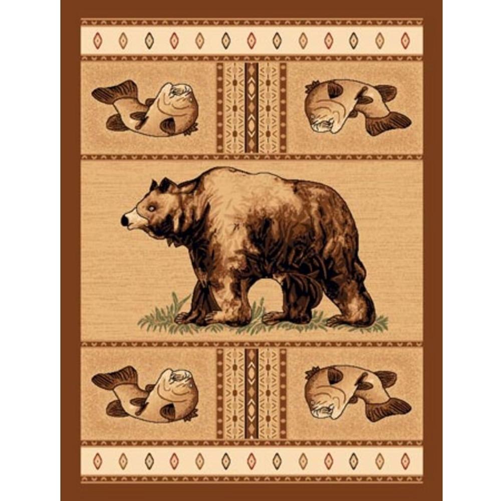 Bear Fish Lodge Area Rug | American Cover | L-360