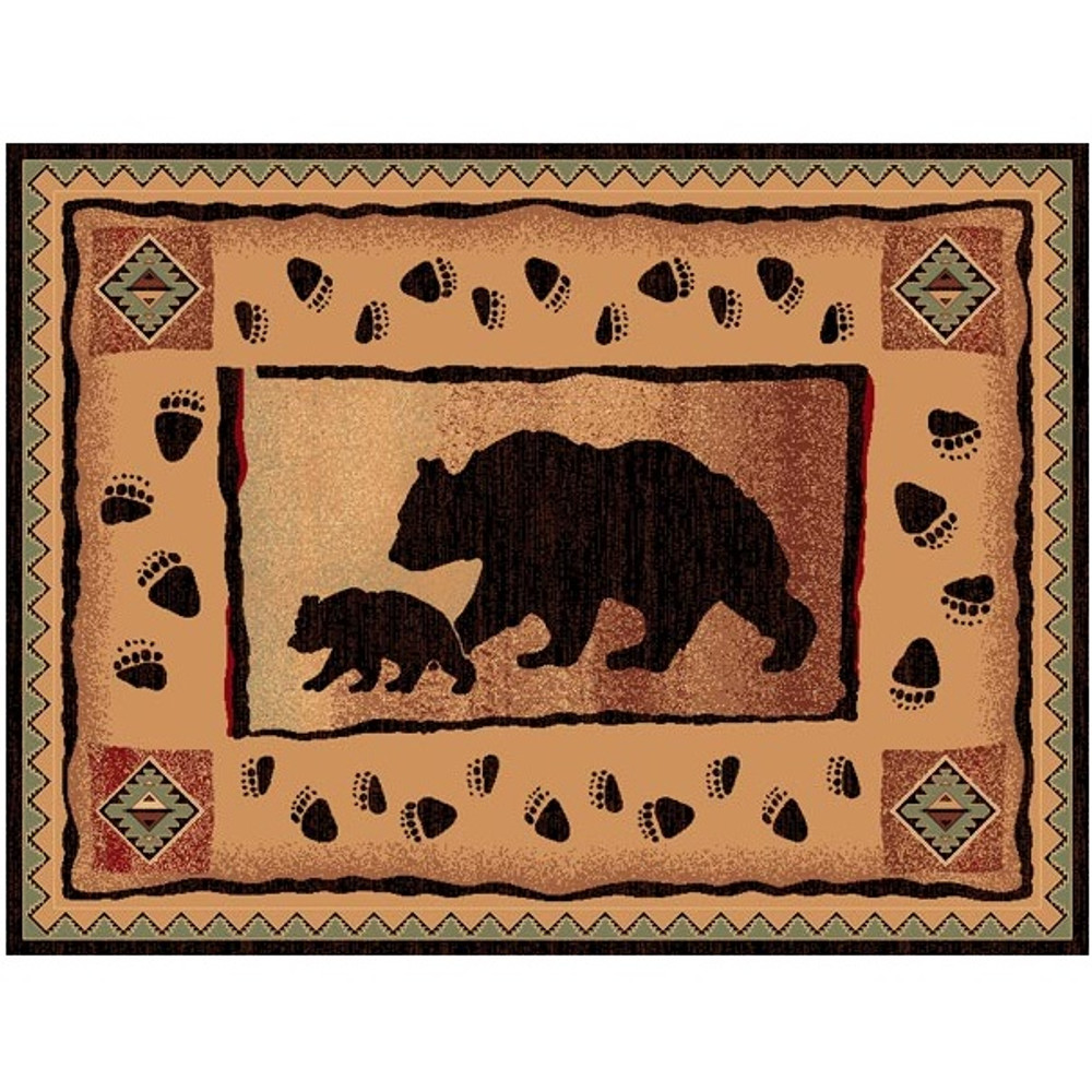 Bear and Cub Lodge Area Rug | Persian Weavers | L367