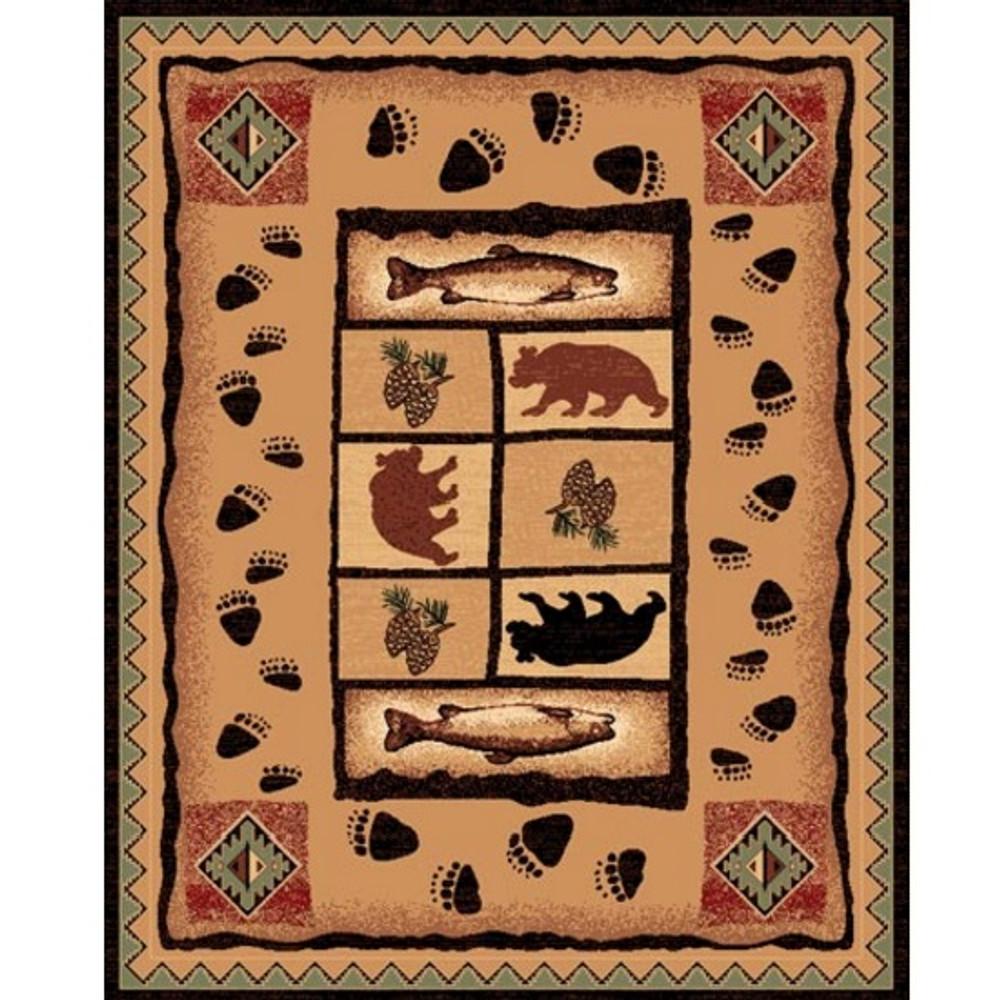Pine Cone Bear Fish Lodge Area Rug | Persian Weavers | L-368