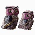 Long Eared Owl and Baby Ceramic Figurine Set | De Rosa Rinconada | F205-F405