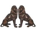 Lion Pair Sitting Bronze Statue | Metropolitan Galleries | SRB705027-1