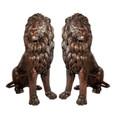 Lion Pair Sitting Bronze Statue | Metropolitan Galleries | SRB705027-2