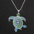 Sea Turtle Enamel Silver Plated Pearly Necklace | Zarah Jewelry | 33-02-Z2P