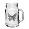 Butterfly Mason Jar Set of 2   Heritage Pewter   HPIMJM4053