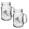 Quarter Horse Mason Jar Mug Set of 2   Heritage Pewter   HPIMJM4094
