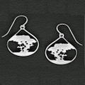 Cypress Tree Pewter Drop Earrings