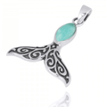 Whale Tail Sterling Silver Larimar Pendant Necklace | Beyond Silver Jewelry | NP11319-LAR