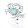 Crab Sterling Silver Larimar Pendant Necklace | Beyond Silver Jewelry | NP10923-LAR