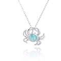 Crab Sterling Silver Larimar Pendant Necklace | Beyond Silver Jewelry | NP10923-LAR -2