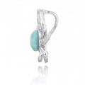 Crab Sterling Silver Larimar Pendant Necklace | Beyond Silver Jewelry | NP10923-LAR -3