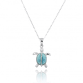 Turtle Sterling Silver Larimar Pendant Necklace | Beyond Silver Jewelry | NP10918-LAR -2