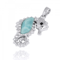 Seahorse Sterling Silver Larimar Pendant Necklace | Beyond Silver Jewelry | NP10125-LAR