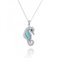 Seahorse Sterling Silver Larimar Pendant Necklace | Beyond Silver Jewelry | NP10125-LAR -2