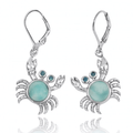 Crab Sterling Silver Larimar Pendant Earrings | Beyond Silver Jewelry | NEA2794-LAR