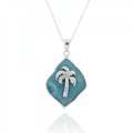 Palm Tree Sterling Silver Larimar Pendant Necklace | Beyond Silver Jewelry | NP11322-LAR -2