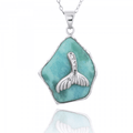 Whale Tail Sterling Silver on Larimar Pendant Necklace | Beyond Silver Jewelry | NP11321-LAR -2