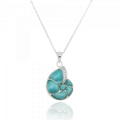 Nautilus Shell Sterling Silver Larimar Pendant Necklace | Beyond Silver Jewelry | NP10447-LAR -2
