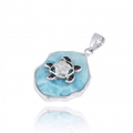 Turtle Sterling Silver on Larimar Pendant Necklace | Beyond Silver Jewelry | NP11323-LAR
