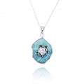 Turtle Sterling Silver on Larimar Pendant Necklace | Beyond Silver Jewelry | NP11323-LAR -2