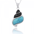 Seashell Shell Sterling Silver Larimar Pendant Necklace | Beyond Silver Jewelry | NP11311-LAR -2