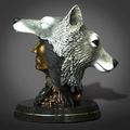 """Native America and Wolf Bronze Sculpture """"The Peacekeeper""""   Barry Stein   BBSTHEPEACEKEEPER"""