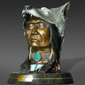 """Native America and Wolf Bronze Sculpture """"The Peacekeeper""""   Barry Stein   BBSTHEPEACEKEEPER-2"""
