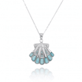 Shell Sterling Silver Larimar Pendant Necklace | Beyond Silver Jewelry | NP11305-LAR -2
