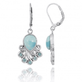 Octopus Sterling Silver Larimar Drop Earrings | Beyond Silver Jewelry | NEA2792-LAR -2