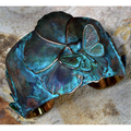 Asian Delight Butterfly Flower Patina Brass Cuff Bracelet | Elaine Coyne Jewelry | ASDP235CF