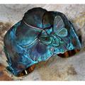 Asian Delight Butterfly Flower Patina Brass Cuff Bracelet | Elaine Coyne Jewelry | ASDP235CF