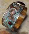 Buffalo Patina Brass Carnelian Jasper Cuff Bracelet | Elaine Coyne Jewelry | BO8477BC